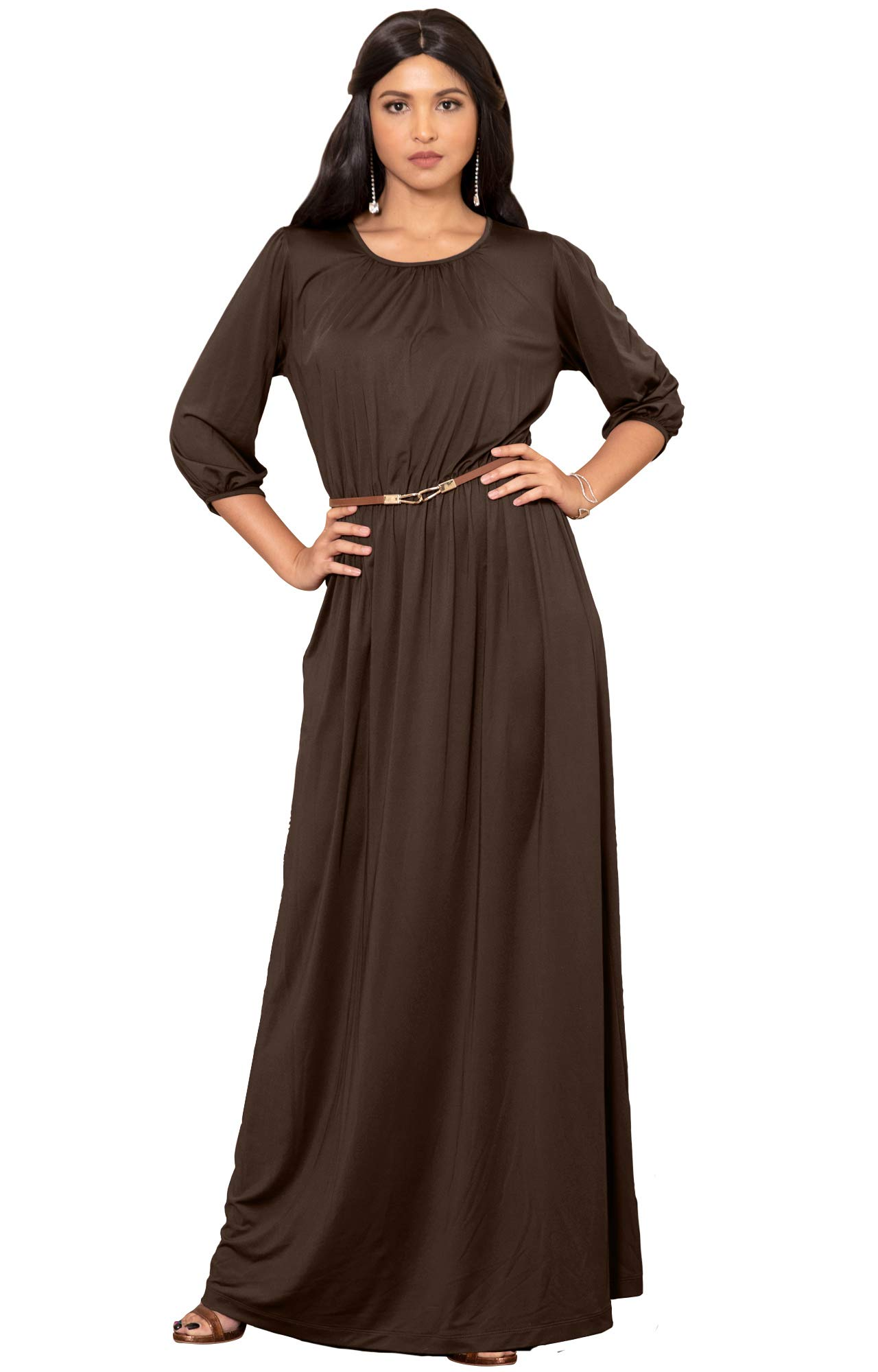 KOH KOH Petite Women Long 3/4 Sleeve Sleeves Vintage Autumn Fall Winter Flowy Formal Evening Work Office Modest Peasant Cute Abaya Gown Gowns Maxi Dress Dresses, Dark Brown S 4-6 (1)