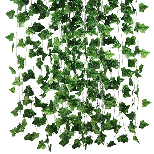 Hecaty 84 Ft Large Leaf Artificial Ivy Silk Vines, Hanging Plants Garland Greenery for Home Wedding Party Decorations DIY Floor Garden Office/Pack of - Flower Box Gazebo