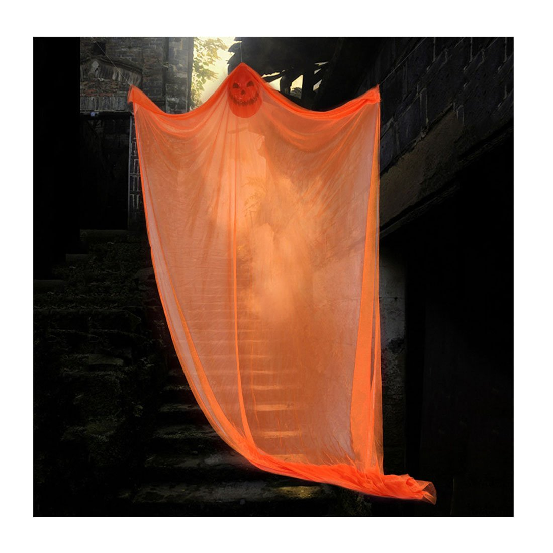 Pinji Halloween Hanging Ghost Scary Prop Skeleton Flying Ghost Decorations for Outdoor Yard Indoor Bar Party Decor Orange
