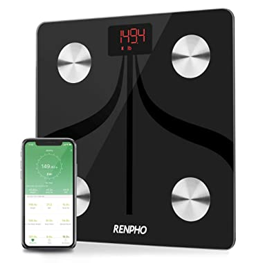 RENPHO Bluetooth Body Fat Scale USB Rechargeable Smart Digital Bathroom Weight Scale with iOS & Android Smartphone App Wireless BMI Scale Body Fat Monitors, 396 lbs