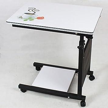 LVZAIXI Mr Laptop Stand Ajustable Computadora de Escritorio Permanente Ruedas Mesa Auxiliar portátil para Cama Sofá Cesta de Carro para Leer Comer (Color ...