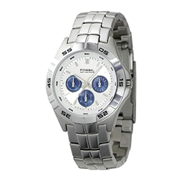 Amazon.com: Fossil Mens BQ9303 Stainless Steel Bracelet White Analog Dial Multifunction Watch: Fossil: Watches