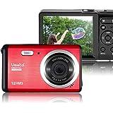"""初心者向けポータブルデジタルカメラ、Vmotal 12MP 2.8""""LCD充電式HDデジタルキッズカメラ:軽量のスターターカメラキッズバースデープレゼント用学生カメラ(赤)"""