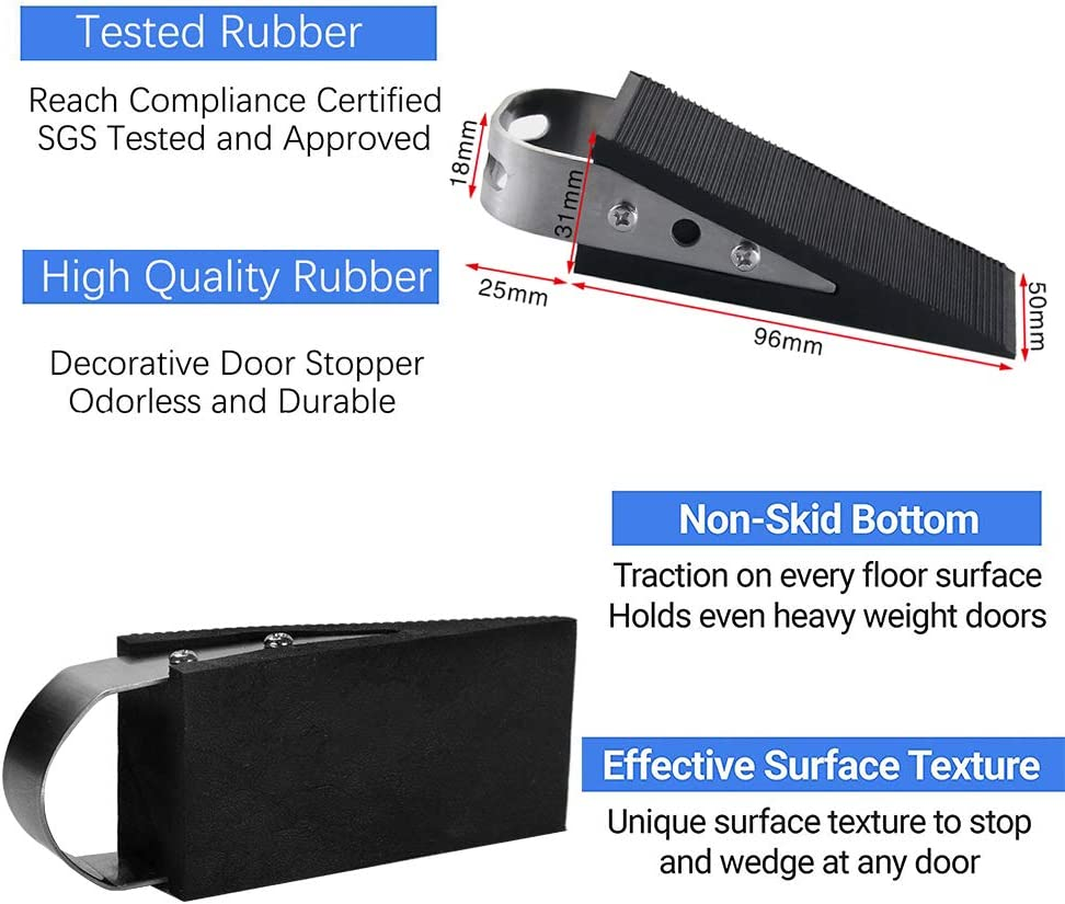 Made of Rubber and Stainless Steel Works On All Floor Types Rubber Door Stopper Decorative Brushed and Carpet 4 Pack Heavy Duty Rubber Door Stop Wedge