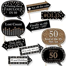Funny Adult 50th Birthday - Gold - Birthday Party Photo Booth Props Kit - 10 Count