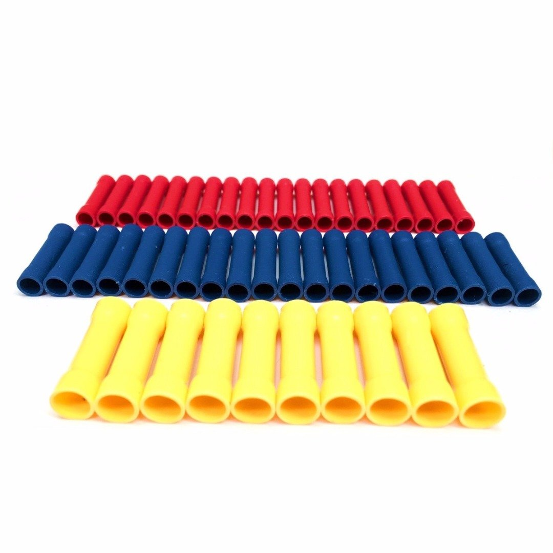 50pcs Heat Shrink Butt Connectors Insulated Heat Shrink Crimp Connectors Straight Butt Wire Cable Terminal Crimp PDTO
