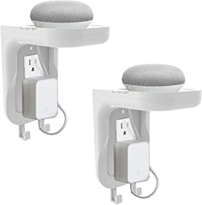 WALI Wall Bathroom Shelf Standard Vertical Duplex GFCI Décor Outlet Charging for Cell Phone, Dot, Google Home, Speaker up to 20lbs with Cable Management and Detachable Hooks (OSH002-W), White, 2 Packs