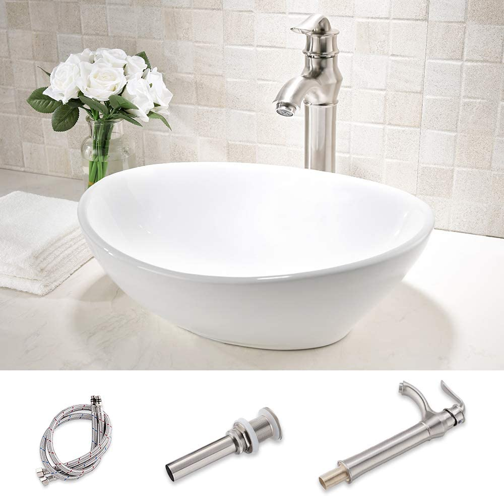 HLBLFY oval Bathroom Sink and Faucet Combo -oval Above Counter