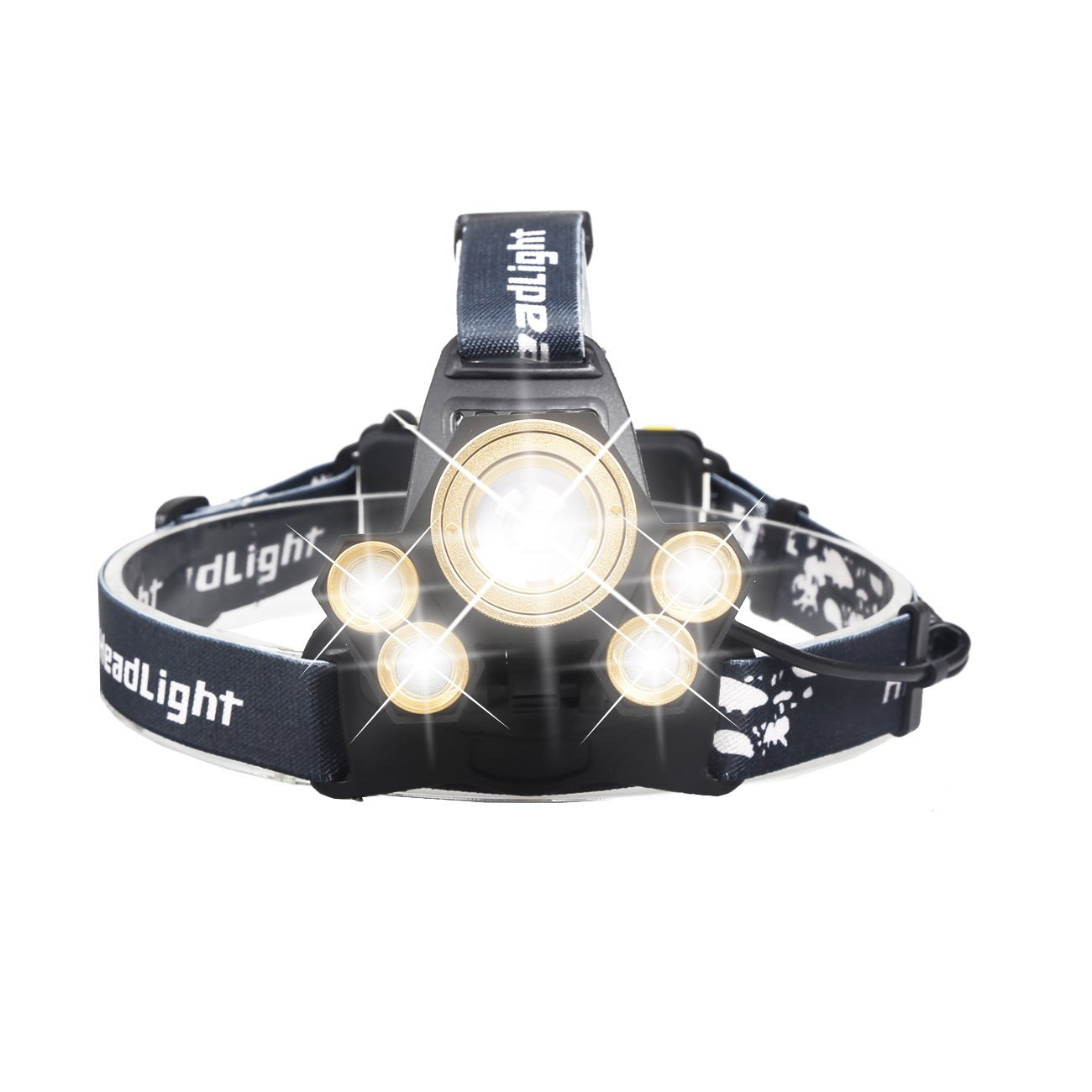 HeCloud 5xT6 LED Headlamp Tactical Headlight with USB Cabel and Rechargerable 18650 Battery