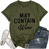 May Contain Wine T Shirt Alcohol Shirts Womens Letter Print Tops Funny Drinking Shirt Casual Short Sleeve Graphic Tees…