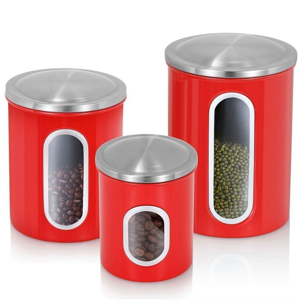 3-Piece Brushed Stainless Steel Nested Canister Airtight Storage Food Storage Set with Silicone Gasket lid