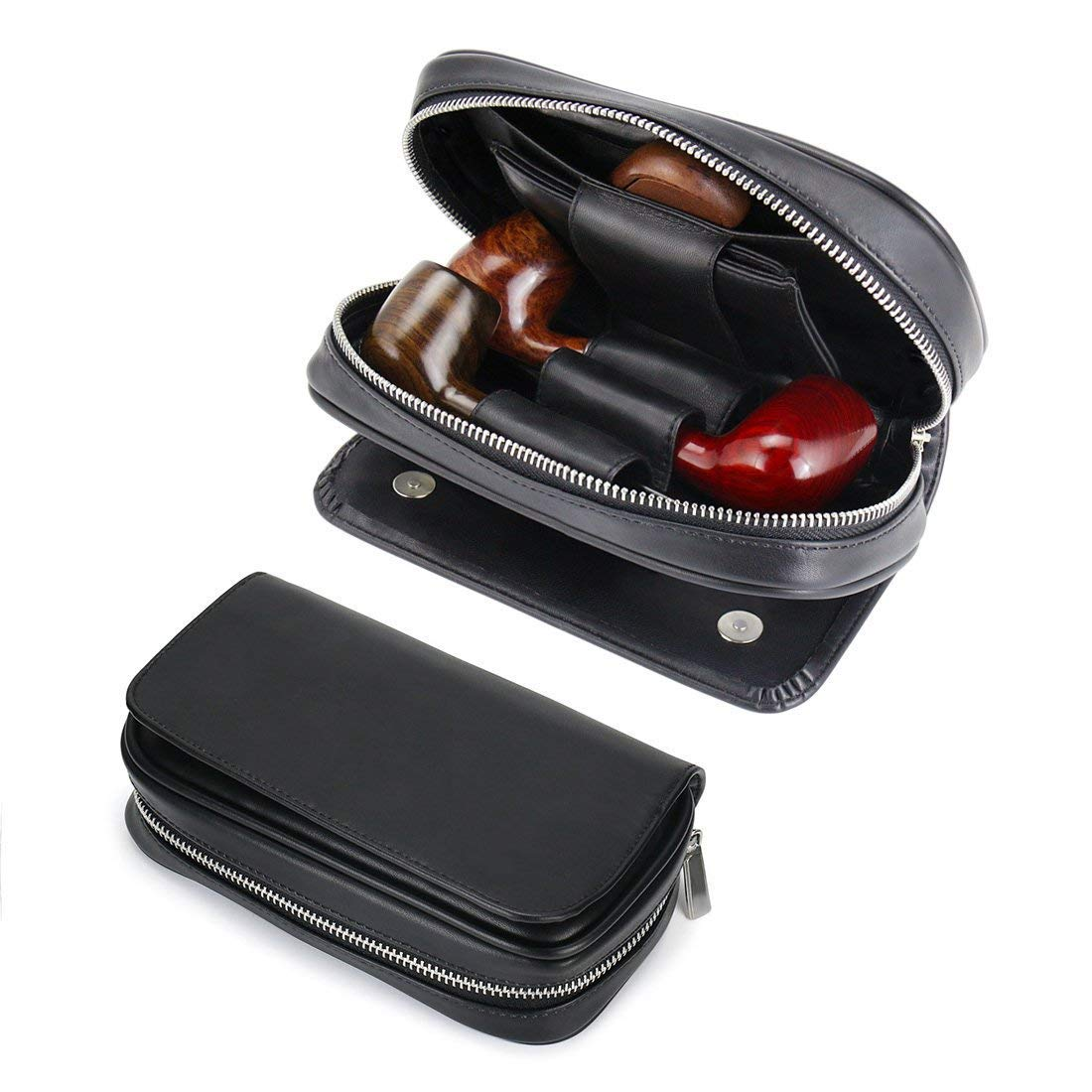 Joyoldelf Leather Tobacco Pipe Bag - Large Capacity Pipe Pouch, Well Store 3 Pipes & Various Accessories