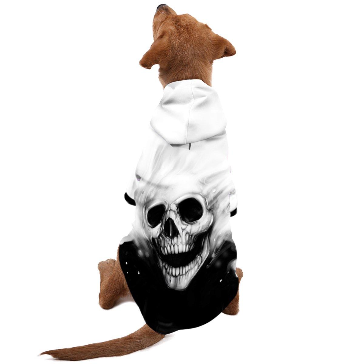 OHANA 3D drei Dimensionen Hunde Kapuzenpullover Pullover Jacke warm Kleider für klein mittel groß Haustier Katzen schwarz weiß Schädel skull
