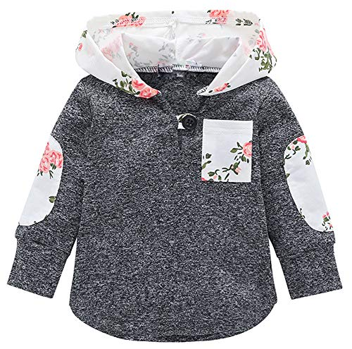 (Happy Kido Toddler Baby Boys Girls Stylish Plaid Floral Pocket Hooded Coat,Kids Jackets Stretchy Cloak Tops Clothes (White Flowers, 12-18 Months))