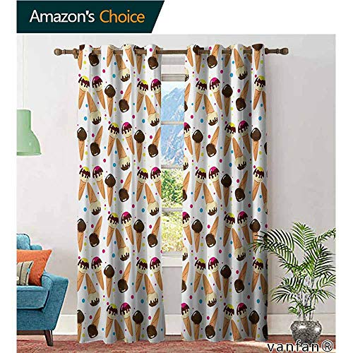 Big datastore Marvel Curtain Panel,Ice CreamChocolate Covered Ice Cream with Colorful Little Dots Frozen Desert Waffle Cones,Custom for Girls/Boys,Multicolor,W108 ()