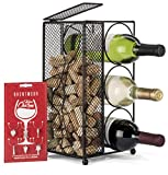 Brentmoor - 3 Bottle - Wine Rack/Cork Holder - Black - Complete w/Wine Charms