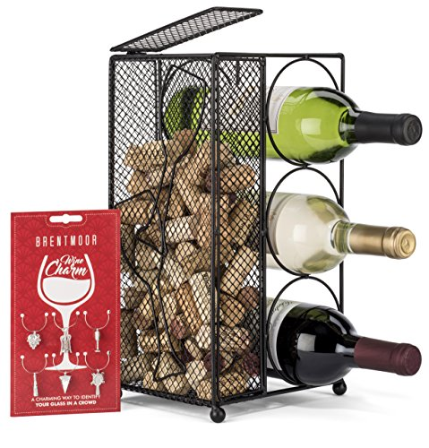 Brentmoor - 3 Bottle - Wine Rack/Cork Holder - Black - Complete w/Wine Charms by Brentmoor