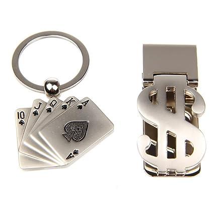Llavero de Metal y dinero conjunto pinza - Poker rey US ...