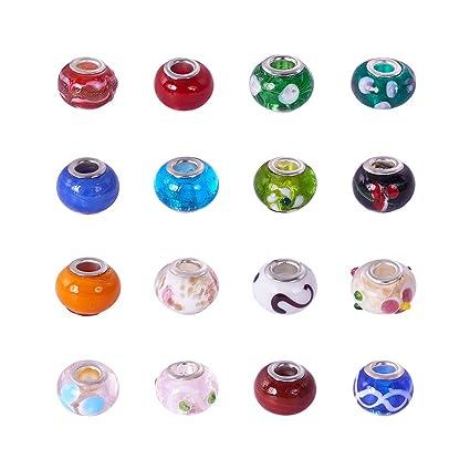 6a7c69f80 PandaHall Elite 100 Pcs Silver Lampwork Glass Beads to Fit Pandora Style Charm  Bracelets Necklace: Amazon.co.uk: Kitchen & Home