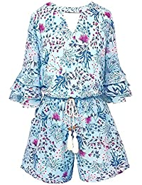 28c29aff767c Big Girls Tween Tiered Ruffle 3 4 Sleeves Romper with Pockets