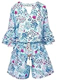 Smukke, Big Girls Tween Tiered Ruffle 3/4 Sleeves Romper with Pockets, 7-16 (Light Blue Multi, 12)