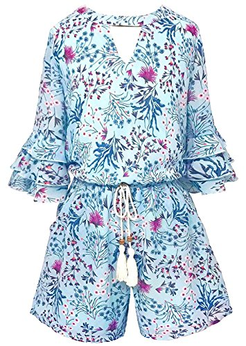 Smukke, Big Girls Gorgeous Floral Printed Tier Ruffle Sleeves Romper (Many Options) with Pockets, 7-16 (12, Light Blue Multi) -