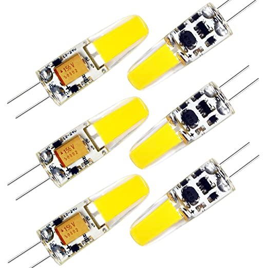 6 Pack Bombillas LED G4, Bombillas con Base Bi-pin Blanco Cálido 3000K,