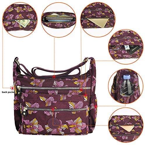 Rock Pocket Nylon Shoulder Travel pattern Purse 4 Lightweight Bag 8016 Handbag Volganik Waterproof Crossbody Multi ZxqHRwAx
