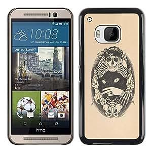 iBinBang / Funda Carcasa Cover Skin Case - Skull Bones Cat Tattoo Beige Black - HTC One M9