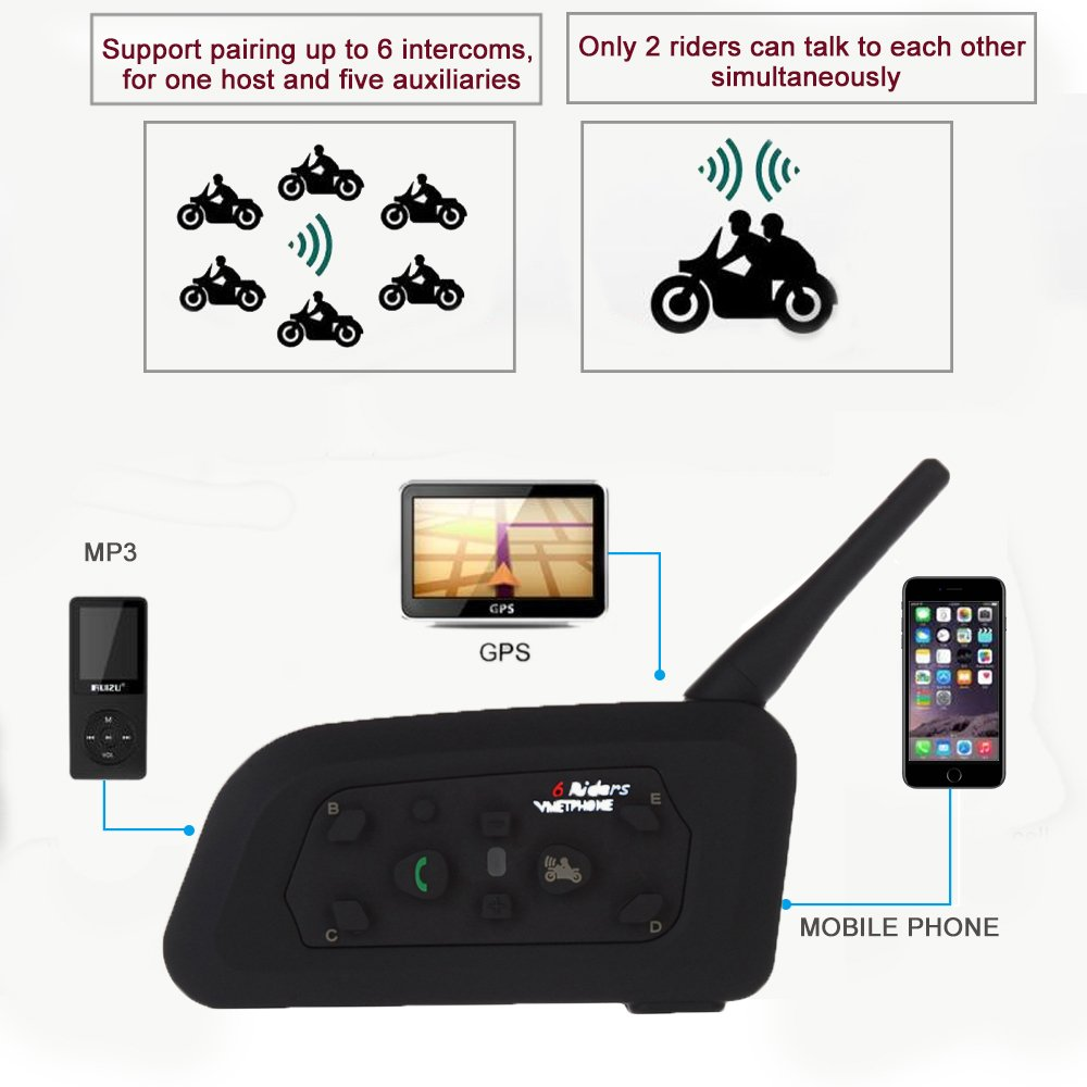 Motorcycle Helmet Bluetooth Intercom Headset, V6 BT 1200M Range 6 Riders Wireless Interphone Speakers IP65 Waterproof Communication Systems Kit for Motorbike Skiing Cycling Climbing by TOP-MAX (Image #3)