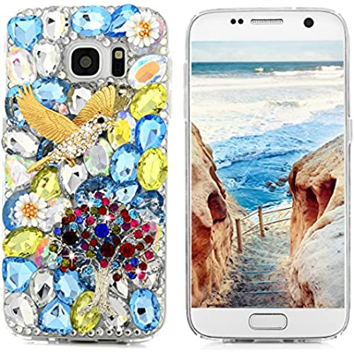 S7 Case,Samsung Galaxy S7 Case - Mavis's Diary 3D Handmade Bling Crystal Diamonds Golden Flying Bird Colorful Tree Flowers Shiny Sparkle Rhinestone Gems Full Sales