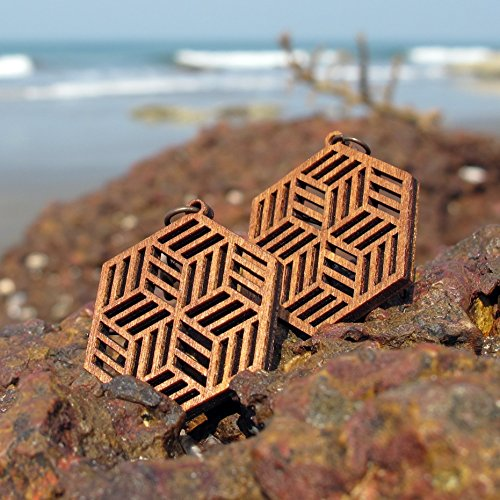 Big Hipster earrings, Psychedelic Designer jewelry, laser cut wood - Hipster Wood