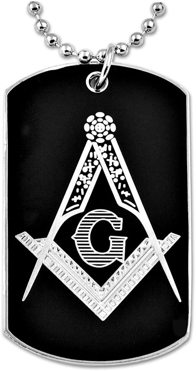 Engraved Square & Compass Dog Tag Masonic Necklace - [Silver & Black][2'' Tall]