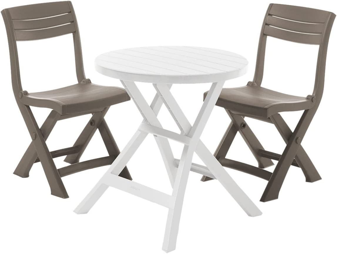 Allibert por Keter Oregon Bistro Set con 2 Tacoma sillas – Blanco Mesa con sillas de Color marrón: Amazon.es: Jardín
