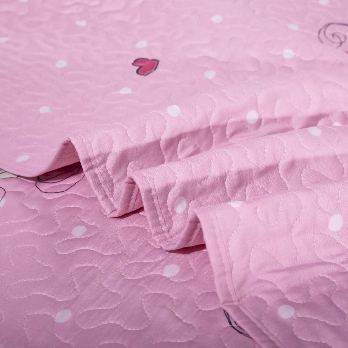 Kids Unicorn Quilt Set with Sham Twin Size Animal Cartoon Bedding Set Soft Reversible Bedspread Coverlet All Season Bed Set for Kids Teens Girls 1 Quilt 2 Pillowshams Pink