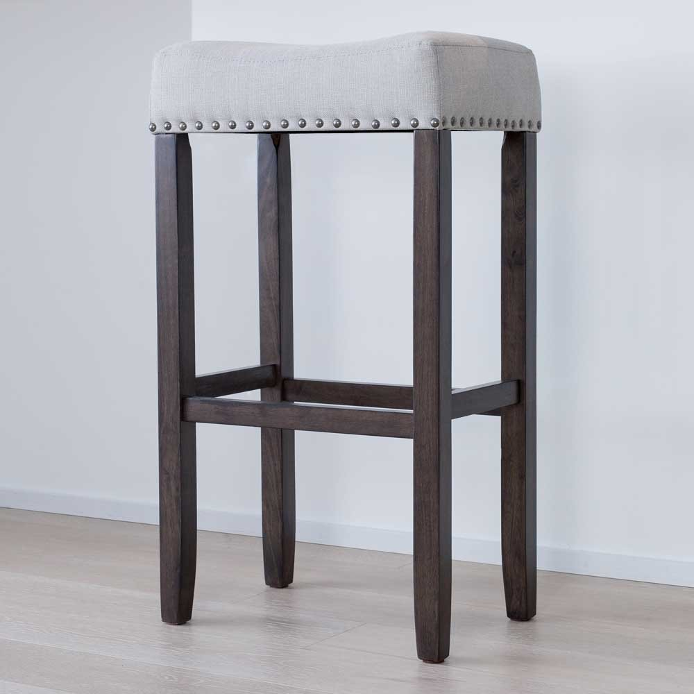 Nathan James 21402 Hylie Nailhead Wood Pub-Height Kitchen Counter Bar Stool 29
