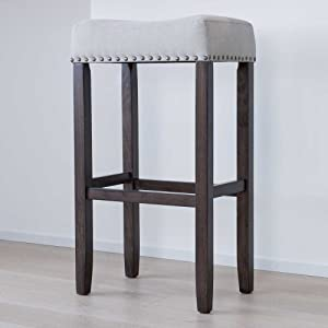 "Nathan James 21402 Hylie Nailhead Wood Pub-Height Kitchen Counter Bar Stool 29"" Gray/Dark Brown"