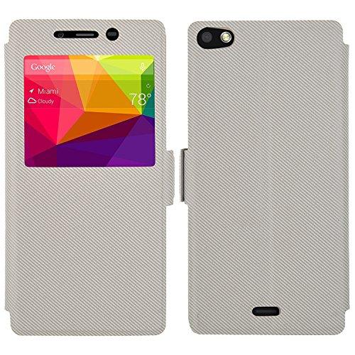 BLU Vivo Air LTE case, KuGi ® JinSha style High quality ultra-thin PU Leather Case for BLU Vivo Air LTE smartphone. (White)