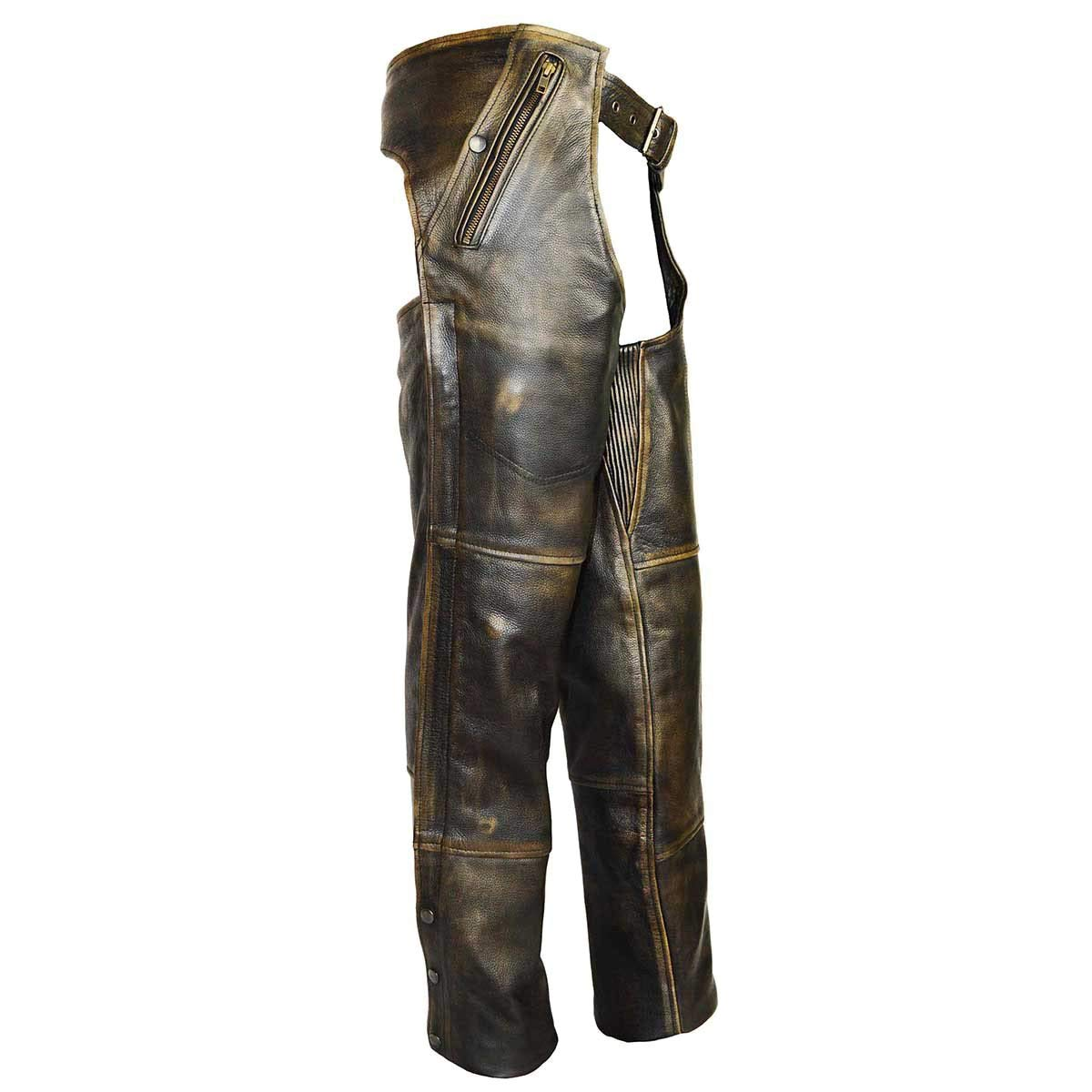 High Mileage 4 Pocket Distressed Brown Leather Chap with Removable Liner by Vance Leather