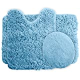 Bath Mat Sets 3 Piece Lavish Home 3-Piece Super Plush Non-Slip Bath Mat Rug Set, Blue
