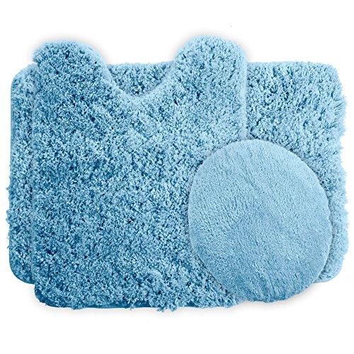 light blue bath rug set - 1