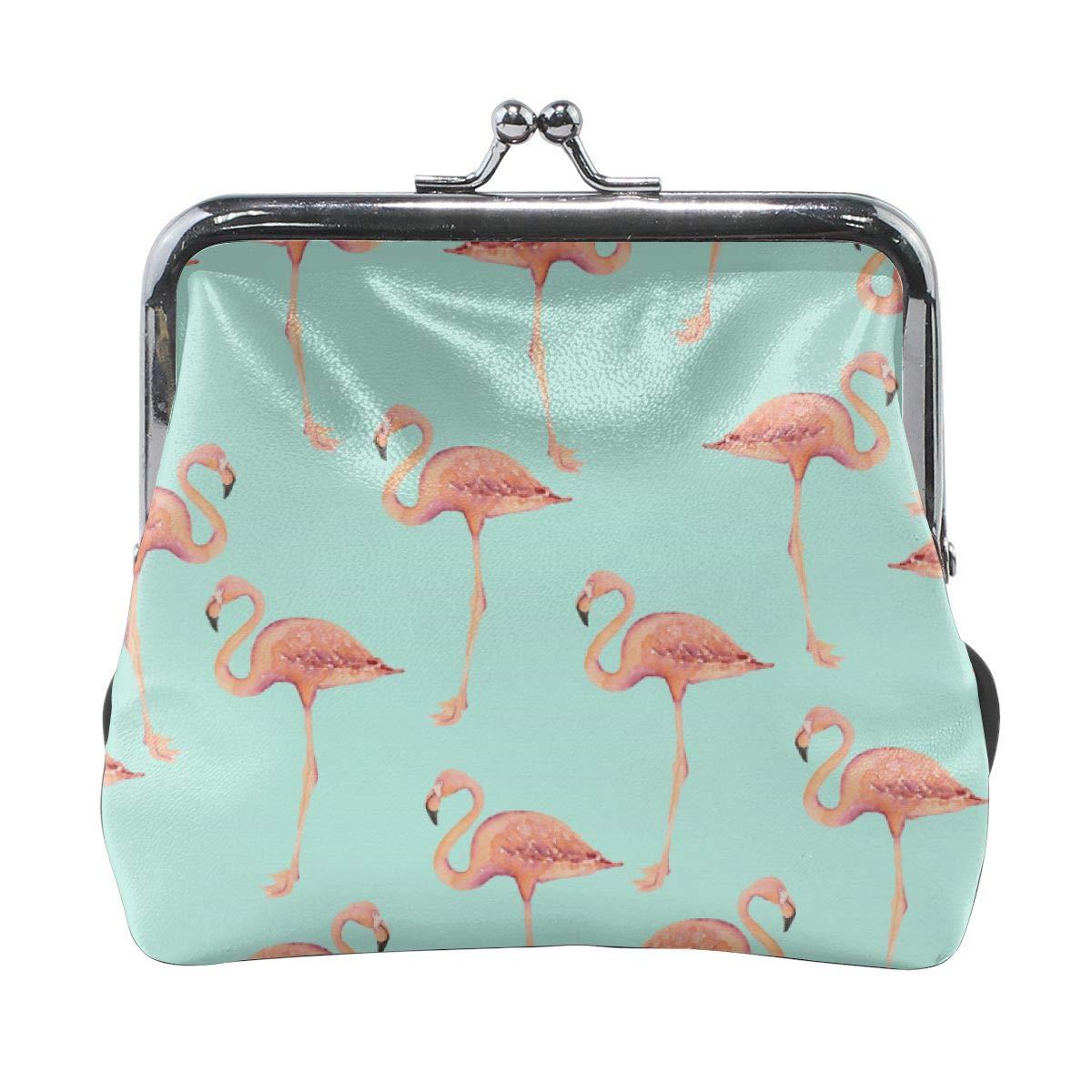 Fashion Beautiful Flamingo Wallpaper Key Buckle Coin Purse For Womens