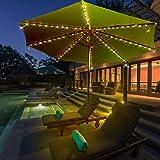 Mobestech Solar Powered Patio Umbrella String Light Bright Outdoor Patio Umbrella Light Strip Garden Decoration Pole…
