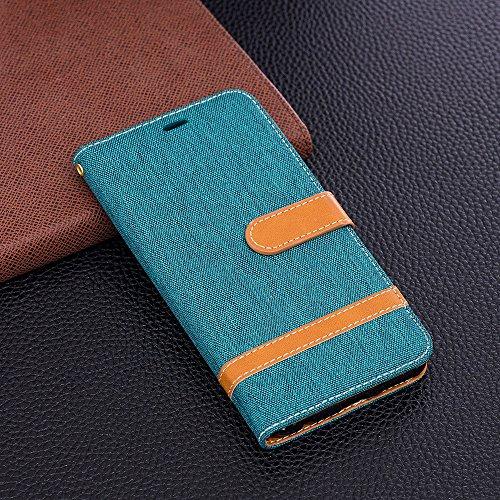 Grandcaser Funda para Huawei Mate 10 Lite,Double Layer Protectora Funda Suave Stitch Denim Leather Cuero Libro Flip Estuche de Silicona Bumper Flexible Cover Carcasa - Rosado Verde