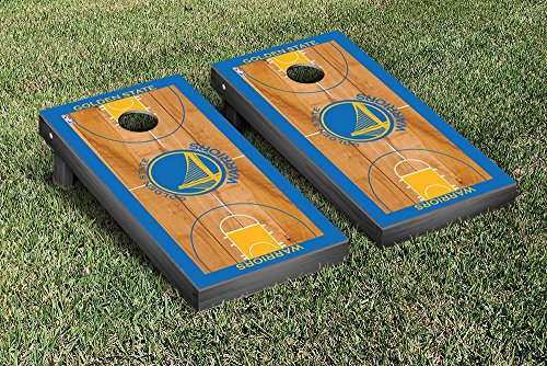Golden State Warriors NBA Basketball Regulation Cornhole Game Set Basketball Court Version by Victory Tailgate