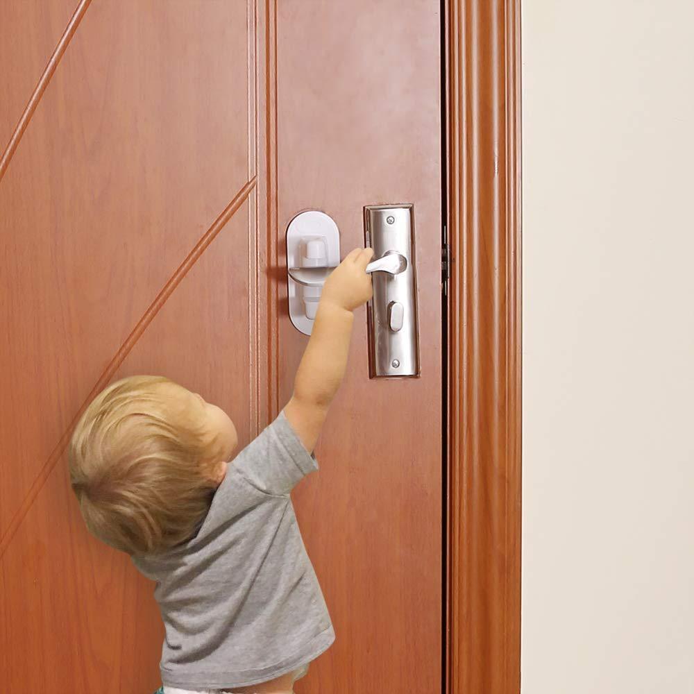 4 Pack Child Proof Door Handle Lock, Upgrade Door Lever Lock No Drill No Screw with 3M Adhesive Tape - Child/Pet Safety & Work Great for French Doors & Door Lever