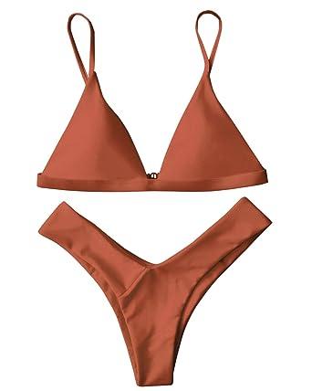 b72c7d1ca5 ZAFUL Women's Thong Bikini Set Straps Padded Triangle High Leg Two Pieces  Swimsuit Burnt Orange