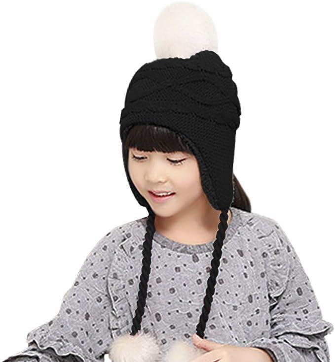 Home Prefer Toddler Girls Winter Hats Fleece Lined Flower Knit Kids Earflaps Hat
