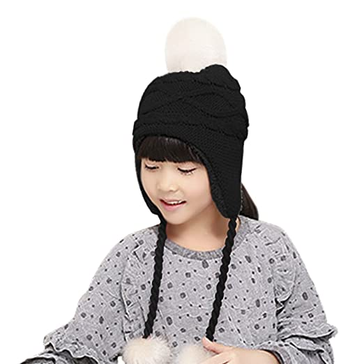 f34e999788d Unisex Children Toddler Baby Winter Wool Crochet Knit Earflap Hat Thick  Sherpa Fleece Lined Warm Beanie