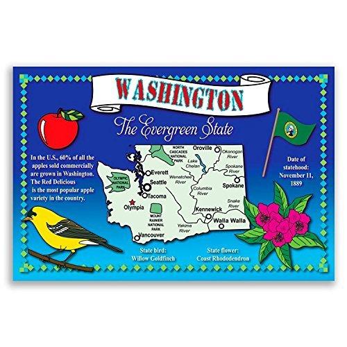 WASHINGTON STATE MAP postcard set of 20 identical postcards. Post cards on washington state map postcard, indiana state park campground maps, ohio state map postcard, indiana united states map,